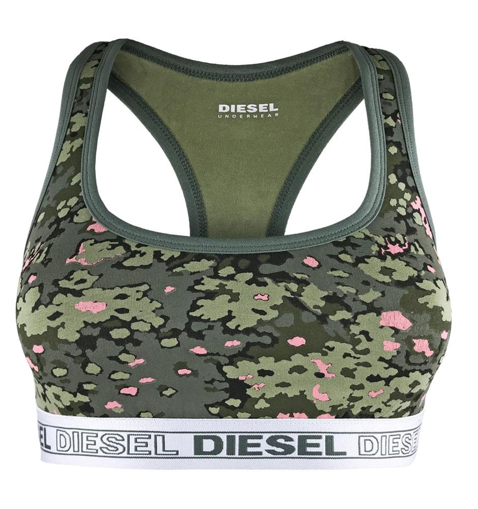 DIESEL - Miley army green camo športová podprsenka s potlačou