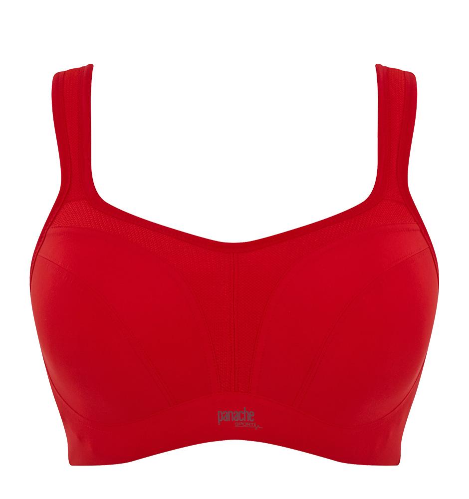 PANACHE - červená športová podprsenka s výstužou a kosticami